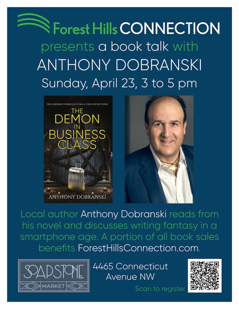 Anthony Dobranski at Soapstone Market, 4465 Connecticut Ave NW, Sun April 23 3-5pm